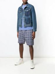 Мужчин в голубой Shortsleeves карман Джинсовая куртка