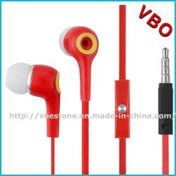 Cabo chato de alta qualidade fones de ouvido com microfone para o telefone móvel inteligente