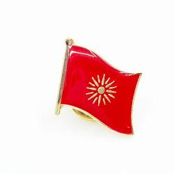 Kenteken van de Vlag van het Gouden Plateren van het Email van het Afgietsel van de Matrijs van het Metaal van de Douane van de Verkoop van de fabriek het Directe Zachte Rode