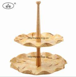 Bambusprodukt-Platten-Bildschirmanzeige-hölzerner gesponnener Kuchen-Tellersegment-Standplatz für Tafelgeschirr