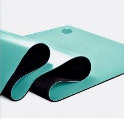 Laser 조각에 의하여 인쇄되는 반대로 미끄러짐 PU 가죽 상단 100% 자연 고무 역행 요가 매트
