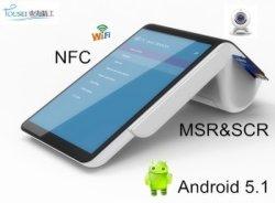 PT7003 Mobile pos de la fecha de la máquina con lector de tarjetas financieras NFC Magantic Mifire Chip y Wireless Scanner Impresora Bluetooth
