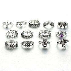 Ретро 13ПК слон Moon Flower поворотного кулака кольцо для девочек