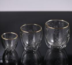 Яйцо форму Термостойкий Gold стекло обода двойные стенки чашки для чая и кофе молоко пиво сок воды