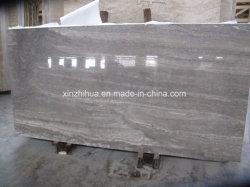 Gris plata travertino pulido lleno de corte transversal de la vena