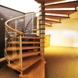 Madeira maciça moderno escada em espiral com Corrimão de Aço Inoxidável