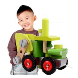 Wooden Children Educational Intellectual Toy Farmer ForkLift Construction Vehicle Model Truck