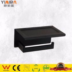 Schwarz SS304 Tissue Roll Spender Toilettenpapierhalter mit Mobile Telefon-Storage-Shelf