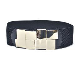 Correa de PU Artificial Ultra Wide casual de la correa de cuero de la junta de la cintura elástica de 7,5 cm de la correa de Silvestre espejo simple