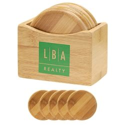 Insieme di bambù del sottobicchiere con il basamento del sottobicchiere
