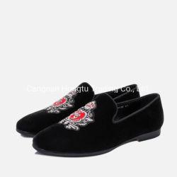 Os homens feitos à mão de veludo Marrom Loafer chinelos com sola de couro