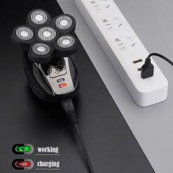 6 cabeças de corte à prova de lâminas IPX7 recarregável USB Homens de cabelo Escova de Limpeza Facial Aparador de pêlos do nariz barbeador elétrico