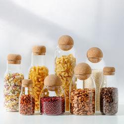 Meilleure vente Cuisine Logo personnalisé Café alimentaire en verre clair Jar de Stockage des récipients en verre avec couvercle en bambou