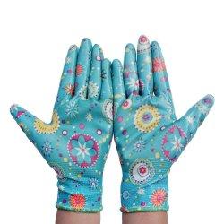 Plamのスムーズなニトリルのコーティングが付いている花デザインナイロン労働の手袋
