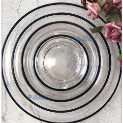 Plaat van het Glas van de Rand van de Reeksen van de Plaat van het Glas van het Huwelijk van de Reeksen van het Vaatwerk van het glas de Populaire Hoge Transparante Gouden