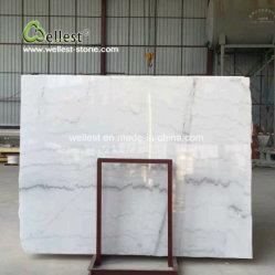 Laje de mármore branco polido China Veia Cinza aleatória