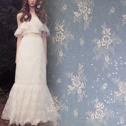 Merletto del francese di Chantilly dei tessuti del vestito da sera dei Sequins