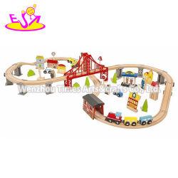 Os novos PCS 70 educacionais mais quentes de brinquedos de madeira composições ferroviárias para crianças W04C073