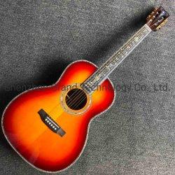 상단 AAA Fishman 301 픽업 Ooo45r 음향 기타를 가진 단단한 빨강 삼목 전복 의무적인 바디