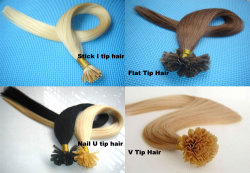 100% 이탈리아 사람 Keratin Pre Bonded 인도 Remy Hair Stick I TIP Hair 또는 Nail U TIP Hair