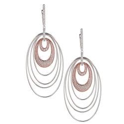 925 Sterling Sliver double cercle ovale placage Two-Color Earring port quotidien Mode bijoux