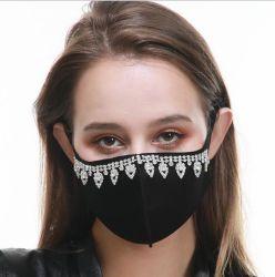 Creative Dust-Proof Pearl Rhinestone Máscara de algodão protecção preta de algodão impresso de Máscara