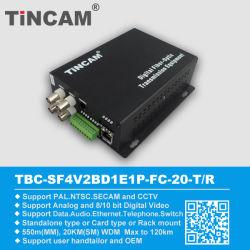 4채널 비디오 + 1CH 데이터 + 1CH 이더넷 광섬유 트랜시버(TBC-SF4V1D1E)