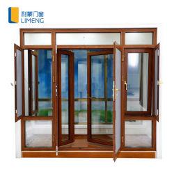 Profil en aluminium couleur bois Inclinaison et tour des fenêtres à battants et portes de l'écran en acier inoxydable