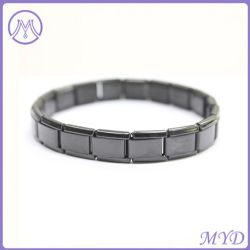 Joyas de acero inoxidable negro Iónica 9mm 18 Link Italian Charms pulseras para