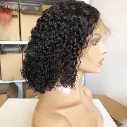 La densité de 180 Full Lace Wig cheveux bouclés CHEVEUX BRÉSILIENS DE perruques avec Bangs