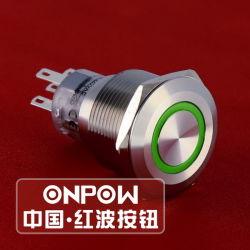 Commutateur à bouton poussoir métallique Onpow (GQ22-A-11E/R/12V/S, 22mm, CE, UL, la CCC, RoHS)