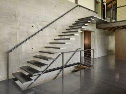 Уникальный крытый прямо из дерева из стекла с плавающей запятой стали лестницы из нержавеющей стали лестницы