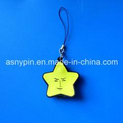 Веселого Рождества! Желтый Hotsale пять звезды ПВХ украшение для телефона Ремешок / Оформление цепочки ключей с логотипом