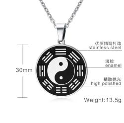 Le taoïsme Bijoux en acier inoxydable huit trigrammes Collier pendentif
