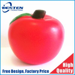 Hot la vente de mousse de PU Soft Apple fruits en forme de balle de stress de jouets pour enfants promotionnelle