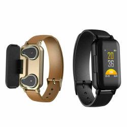 T89 Smart Binaural наушники Bluetooth фитнес-браслет Пульсомер браслет для Мужчины Женщины подарок для продвижения