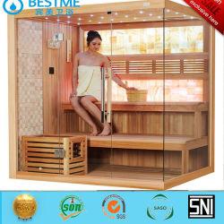 Salle de bains sauna poêle avec un sauna en bois massif de matériel de pierre