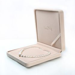 Grade高いFlanneletteの中心Shaped Pearl Necklace Box、Your Stamping LogoのPlastic Jewelry Box