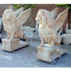 Outdoor grande statue de marbre granit naturel de l'Escadre Sculpture Lion
