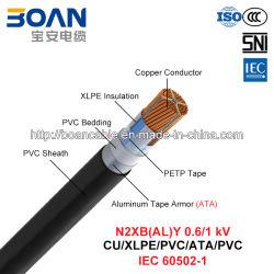 N2xby, кабель питания, 0.6/1 КВ, Cu/XLPE/PVC/ATA/PVC (IEC 60502-1)