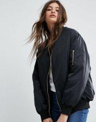 As mulheres de alta qualidade personalizada preta de Inverno bombardeiro com excesso de casacos por grosso