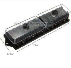 Chariot universel de voiture bateau 12V 12 contacts lame standard Boîte à fusibles du circuit de bloc de support