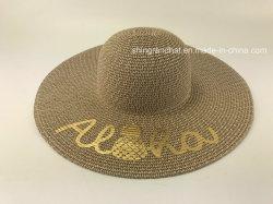 金パイナップルによって印刷される帽子が付いている混合されたペーパーわらのブレード