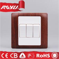 BS couleur bois 3piste 10A Contacteur électrique 220V