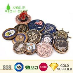 Logotipo conmemorativo de souvenirs personalizados fabricante de oro y plata Latón Antiguo Aleación de zinc Soft enamel Militar de Marina de Guerra 3D Desafío Metal Moneda para regalo promocional