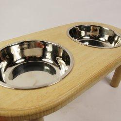 Fsc Pet classique en bois de gros bol statif et le bol de PET en acier inoxydable