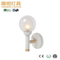 실내 장식 램프 목제 점화 두 배 명확한 유백색 유리 그늘 벽 램프 전등 설비 문 방법 빛