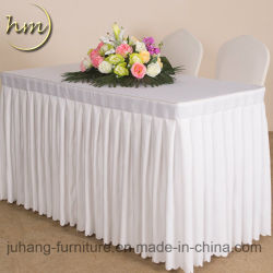 100% Polyester Pleated Cheap Restaurant Wedding Table Rok (Hm-Y4)