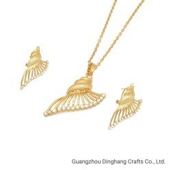L'électrophorèse Electroplate & Wing-Shaped Alary strass Earrings Collier Pendentif Mode bijoux Set