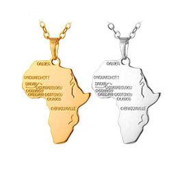 تصميم جديد hipop 316L من الفولاذ المقاوم للصدأ أفريقيا خريطة مخصصة الحيوانات قلادة